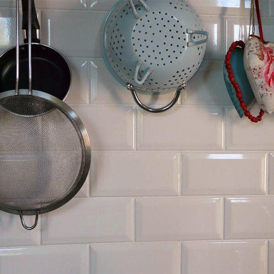Kitchen Tiles Johnson 10x20cm bevel brick white tilejohnson tiles white gloss