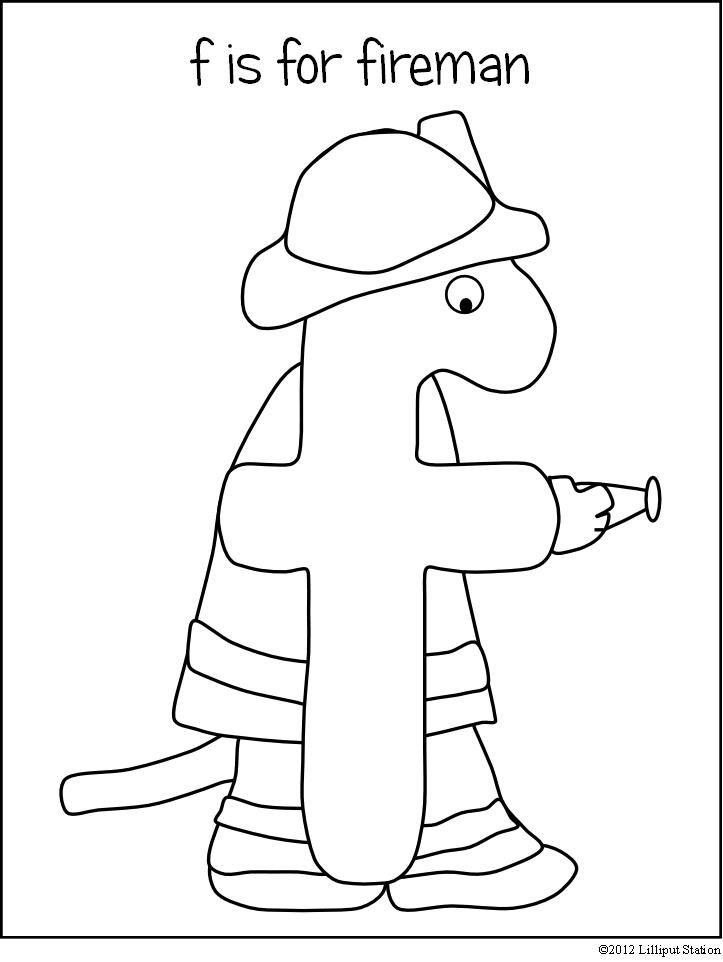 f is for fireman {free printable}   Alphabet preschool ...
