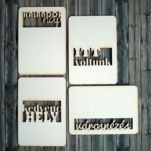 NőiCsizma | Utazás témájú, feliratos chipboard kártyák