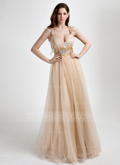 Prom Dresses - $140.49 - A-Line/Princess V-neck Floor-Length Tulle Prom Dress With Ruffle Beading (018015818) http://jjshouse.com/A-Line-Princess-V-Neck-Floor-Length-Tulle-Prom-Dress-With-Ruffle-Beading-018015818-g15818?ver=xdegc7h0