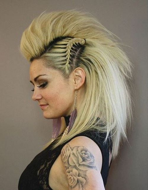 20 Faux Hawk Inspired Hairstyles You Must Try: #1. Short Blonde Faux Hawk Against Long Hair