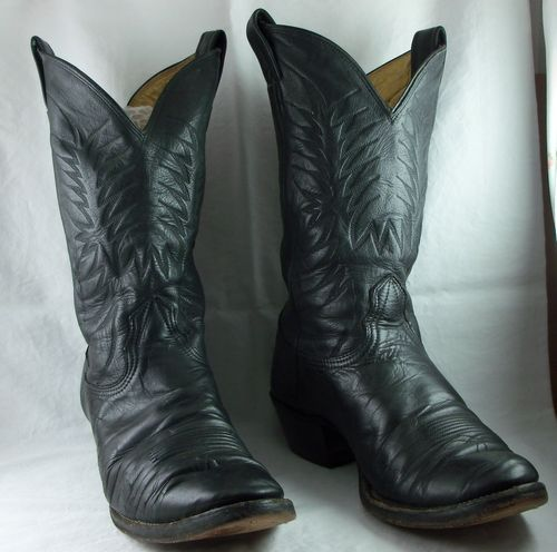 SOLD!  We have other shirts and accessories for Men in our store.  Vintage Nocona Cowboy Boots 9.5 D Black Leather Western Mens Medium Width USA