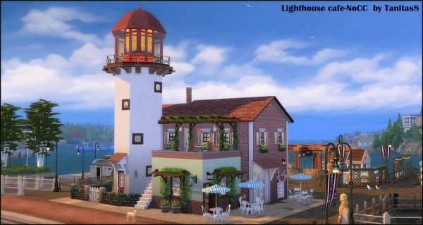 Tanitas8 Lighthouse Cafe Nocc For The Sims 4 Spring4sims Sims House Lighthouse Cafe Sims