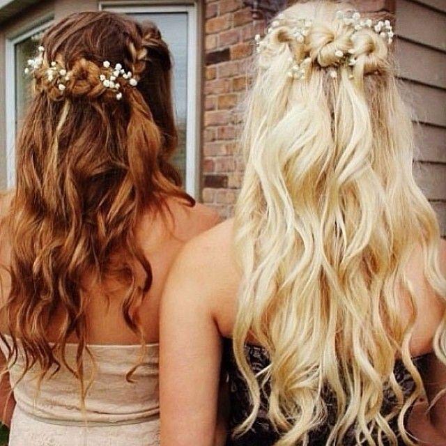 brown half up half down hairstyles, blonde half up half down wavy hairstyles long curls with a flower headband Join Our Instagram with @VP Fashion or #vpfashion.