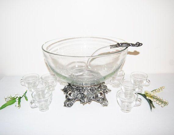 Vintage Punch Bowl PitmanDreitzer with Cups by CheekyVintageCloset, $395.00