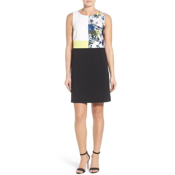 Ellen Tracy Colorblock Sleeveless Shift Dress (Regular & Petite) ($55) ❤ liked on Polyvore featuring dresses, petite, colorblock shift dress, graphic dresses, multi color dress, color block dress and ellen tracy dresses