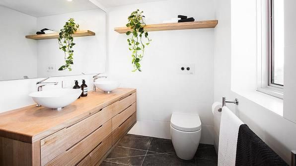 The Block Master Bathroom  Timber Vanity with matching shelf above toilet   – BA…   – most beautiful shelves