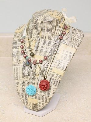 tutorial: book print necklace stand.  Ok, I have really expensive ones, so I won't be trying this on them....but a cheapy....now that's another story!