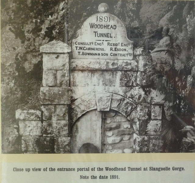 The old Woodhead Tunnel which leads 700m through Table Mountain from Disa Gorge to Slangolie Ravine at the end of the Pipe Track above Bakoven in Cape Town 001