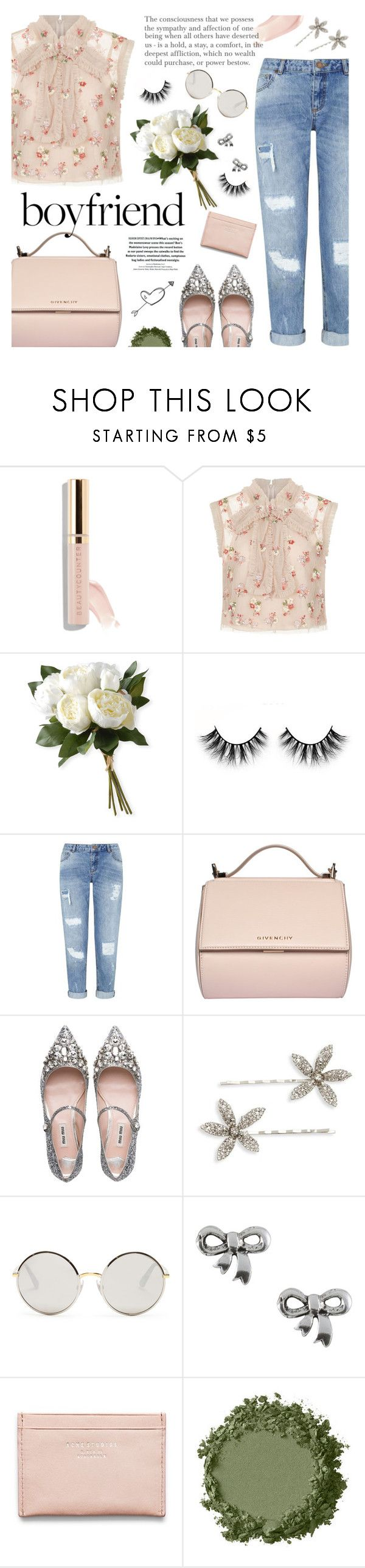 """""""borrowed from the boys: boyfriend jeans"""" by jesuisunlapin ❤ liked on Polyvore featuring Needle & Thread, National Tree Company, Miss Selfridge, Givenchy, Miu Miu, Jennifer Behr, Dolce&Gabbana, Jewel Exclusive, Acne Studios and croptop"""
