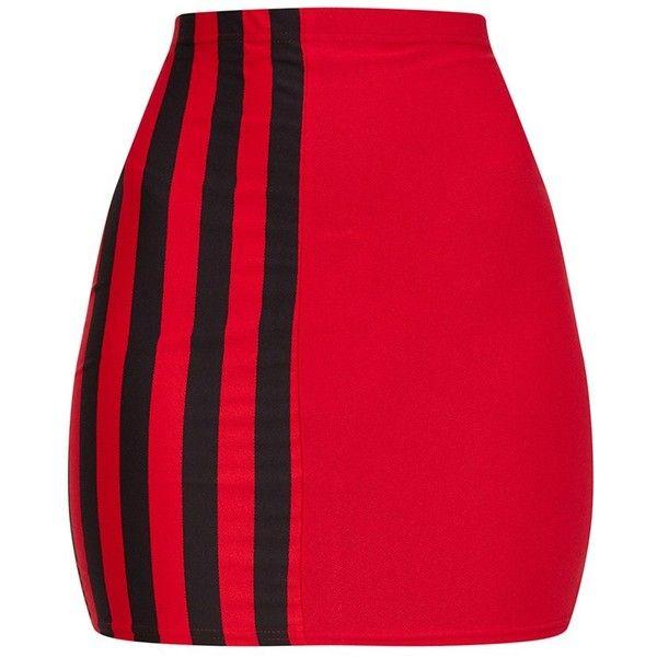 Red Stripe Panel Mini Skirt ($11) ❤ liked on Polyvore featuring skirts, mini skirts, striped short skirt, sports skirts, sport skirts, red stripe skirt and short skirts