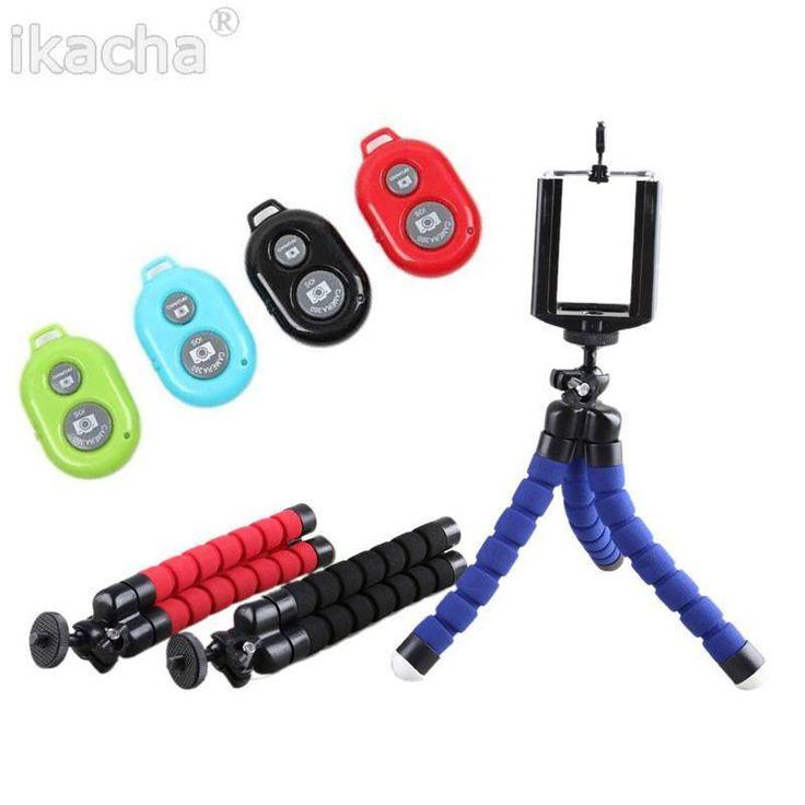 3in1 Car Phone Holder Wireless Bluetooth Remote Tripod Octopus