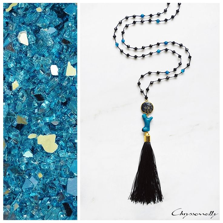 JEWELRY | Chryssomally || Art & Fashion Designer - Petrol blue coral and black agate boho chic tassel necklace