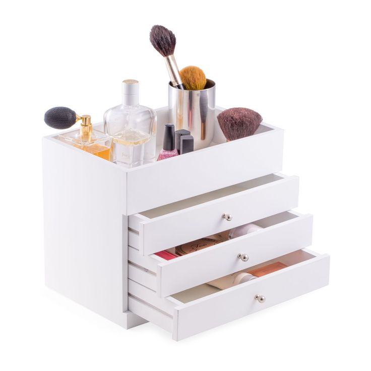 Bey Berk Nadja Open-top White Wood Makeup Vanity Case (white)