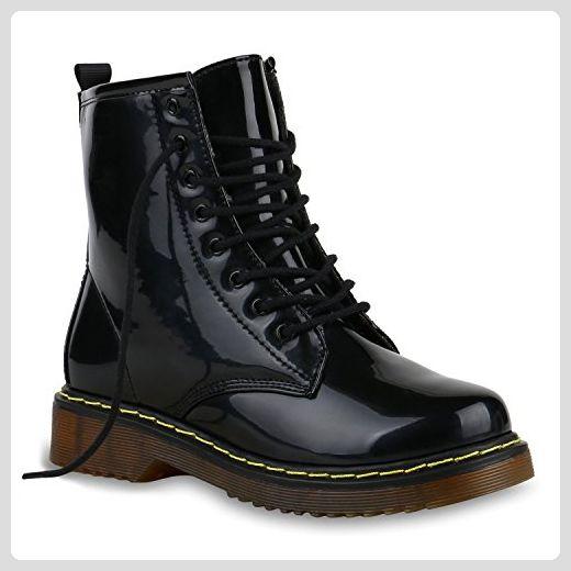 Derbe Damen Stiefeletten Worker Boots Profilsohle| Camouflage Stiefel Schnür Animal Print Schuhe 129221 Schwarz Lack 36 | Flandell® - Stiefel für frauen (*Partner-Link)