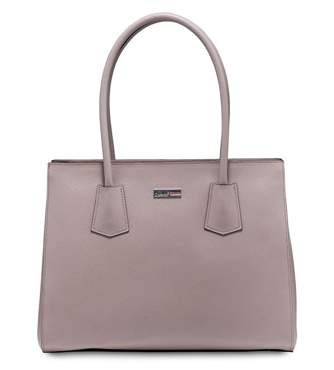 Handbag bon-ton in pelle stampa saffiano dallo stile minimal ed elegante. Irresistibile! Modello Azalea By Caleidos