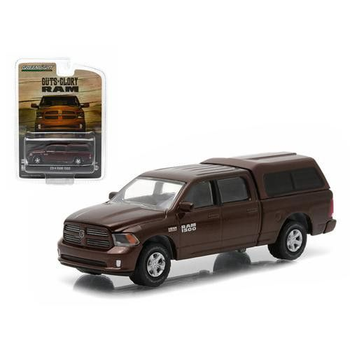 """2014 Dodge Ram 1500 Work Pickup Truck Metallic Brown with Camper Shell """"Hobby Exclusive"""" 1/64 Diecast Model by Greenlight"""