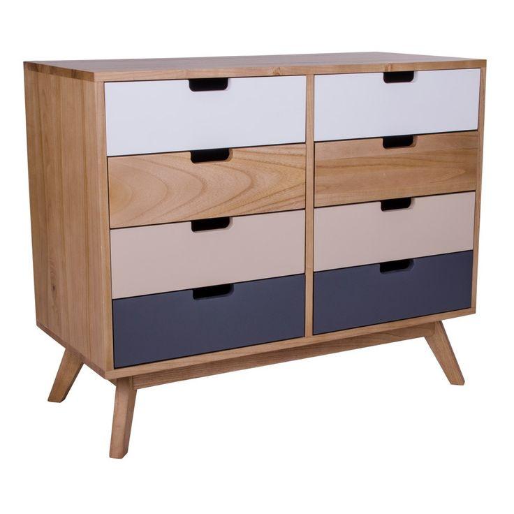 Kolorowa drewniana komoda z 8 szufladami House Nordic Milano