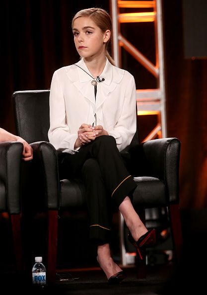 Actress Kiernan Shipka of the television show 'Feud' speaks onstage during the FX portion of the 2017 Winter Television Critics Association Press...