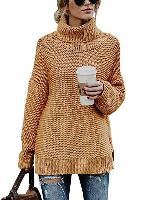 09ac8530973 Aleumdr Womens Fall Cozy Turtleneck Long Sleeve Solid Printed Chunky Knit  Jumper Pullover Sweater Tops Khaki Medium | Amazon #sweater #turtleneck  #khaki ...