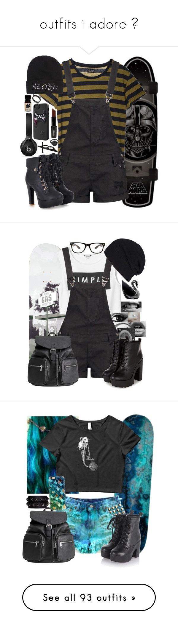 """""""outfits i adore ♡"""" by creepyaquarius ❤ liked on Polyvore featuring Kate Spade, Cheap Monday, Boohoo, LA: Hearts, Beats by Dr. Dre, Lord & Berry, LeiVanKash, GAS Jeans, Monki and H&M"""