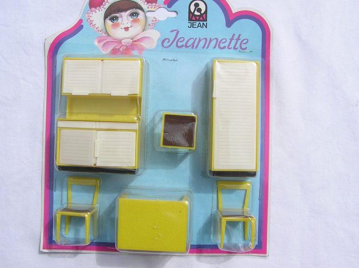 Vintage Jean Jeanette plastic doll house furniture yellow white original pack | eBay
