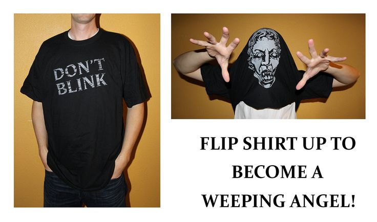 DON'T BLINK - Doctor Who Inspired Adult UNISEX Flip up Shirt with Weeping Angel. $19.95, via Etsy.