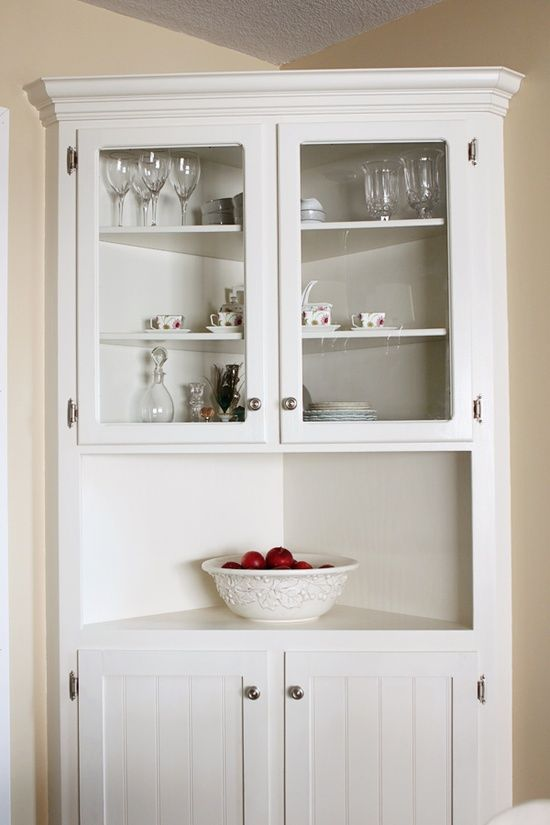 White Kitchen Corner Cabinet Hutch