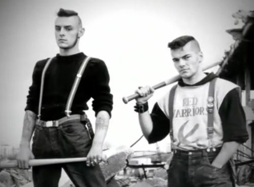 """Members of the Red Warriors, an antifascist gang in France, 1985. Red Warriors used violent force to remove Neo Nazi gangs from France and provide safe spaces for immigrants during the rise of white nationalism and an outbreak of violent crime against people of colour. They formed a squad called """"L.U.S.I.N.E"""" and were considered the most effective gang to counter nazi violence, working to instill fear in their opposition."""