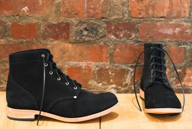 Here is another pair of custom boots we handcrafted for one of our film friends. This time we used a heavy black suede with brass eyelets/rivets on a natural double leather sole with a stacked leather heel and rubber top piece.