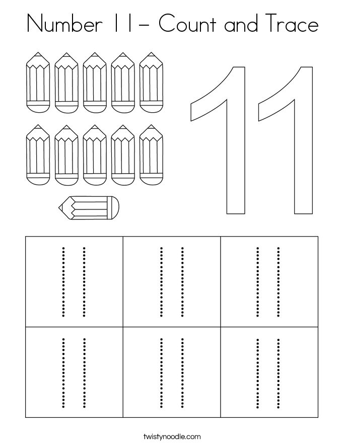 Number 11- Count and Trace Coloring Page - Twisty Noodle ...