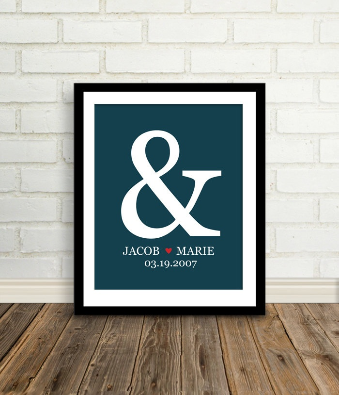 personalized wedding gift custom ampersand wedding date print 8x10 bridal shower gift