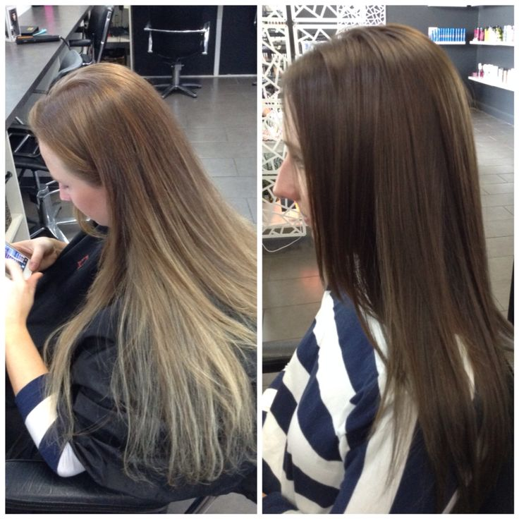 Before and after.  Colour change. Blonde to brunette.