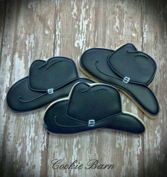 Black Western Cowboy Hat Custom  Decorated Sugar Cookies