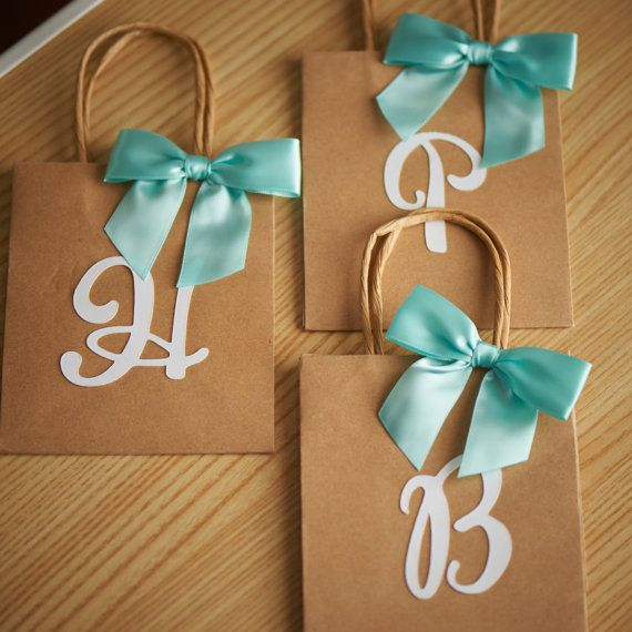 Gift Bags for Bridesmaids - ships in 1-3 business days - Small Kraft Paper Bags with Handle - Party Favor Bags