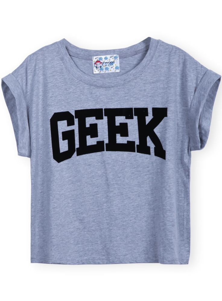 Shop Grey Short Sleeve GEEK Print Crop T-Shirt online. Sheinside offers Grey Short Sleeve GEEK Print Crop T-Shirt & more to fit your fashionable needs. Free Shipping Worldwide!