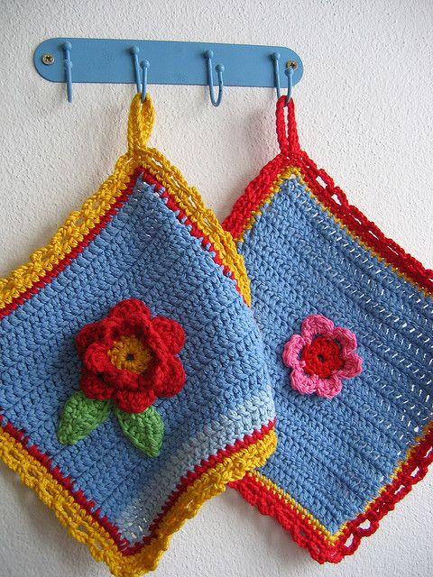 crocheted flower potholders