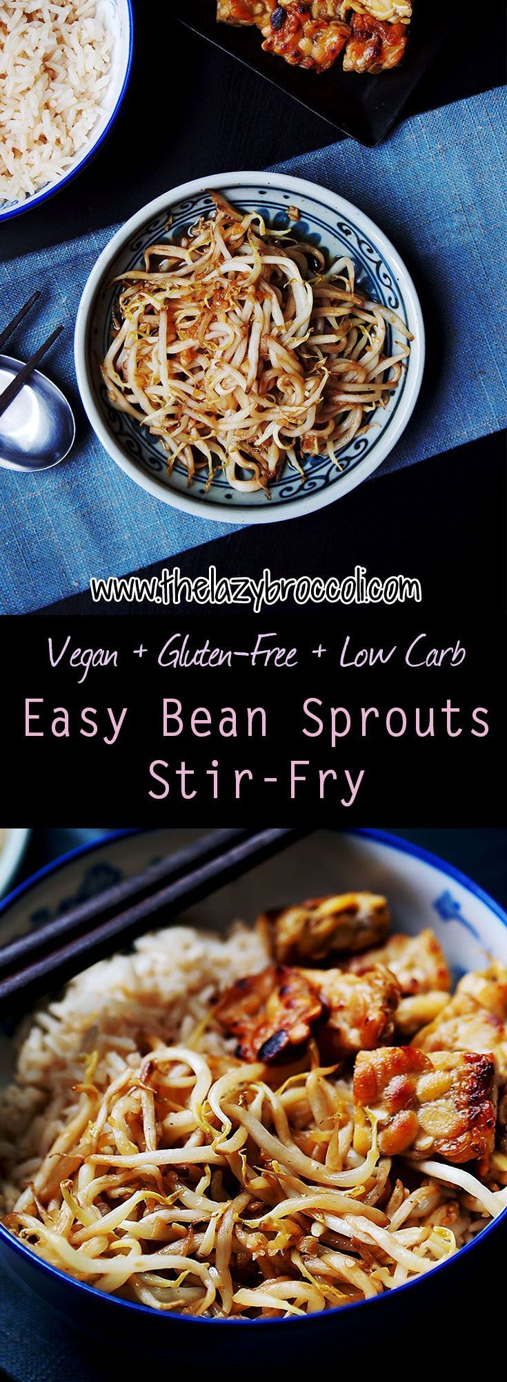 This vegan, gluten free and low carb bean sprouts stir-fry is super easy and really cheap! Less than 5 ingredients and under 10 minutes - perfect for the lazy vegan ;)