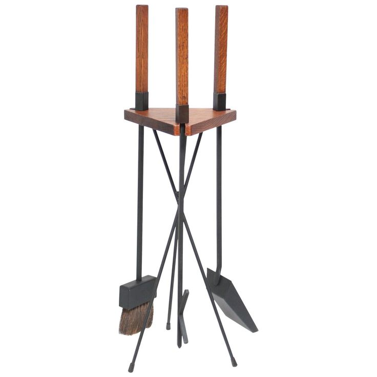 Mid-Century Modern Oak Fire Tools and Tripod Carrier | From a unique collection of antique and modern fireplace tools and chimney pots at https://www.1stdibs.com/furniture/building-garden/fireplace-tools-chimney-pots/