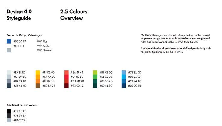 brand guidelines - colour palette - Volkswagen