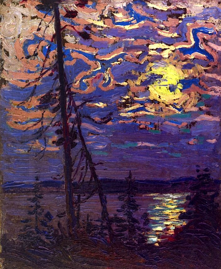 TOM THOMSON Moonlight (1915) Love the sky! And the reflection in the water... I see this as a future hooked rug :)