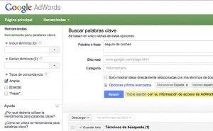 Herramienta de búsqueda de palabras clave de Google Adwords
