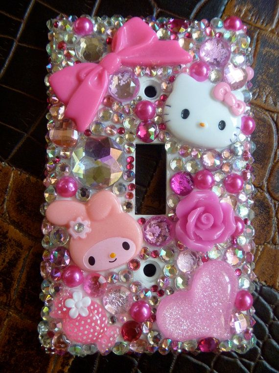 blinged out hello kitty light switch cover