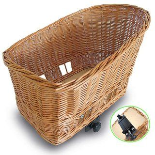 """$106 Basil 'Pasja' Pet Basket - Large size.  Comes in 3 sizes:  small:  15"""", med. 18"""" or LG 20"""".  LG / 50cm  = 20""""x16""""x13""""=50cm size.  *Also need wire cover so dog can't fall out.  Clips to rear bike rack using"""