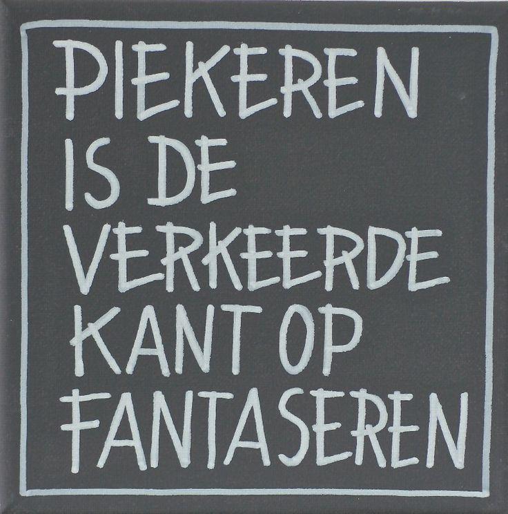 Kiz Canvas - Piekeren is ... | Kiz Canvas tekst schilderijen | Label 123