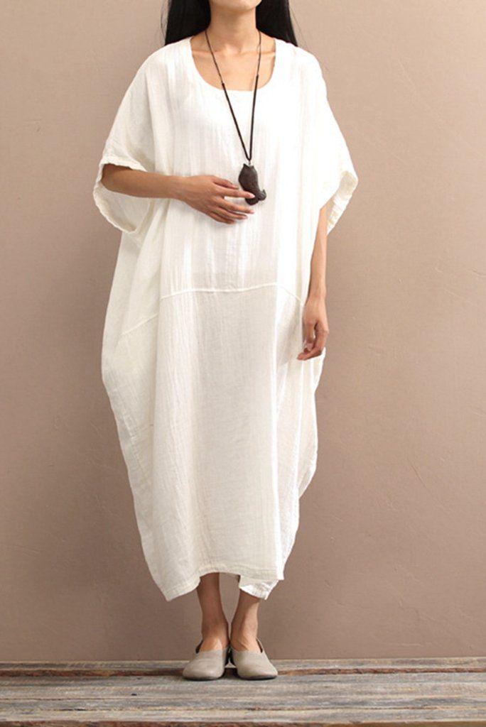 2017 Cotton Loose Plus Size Long Dress Women Dress
