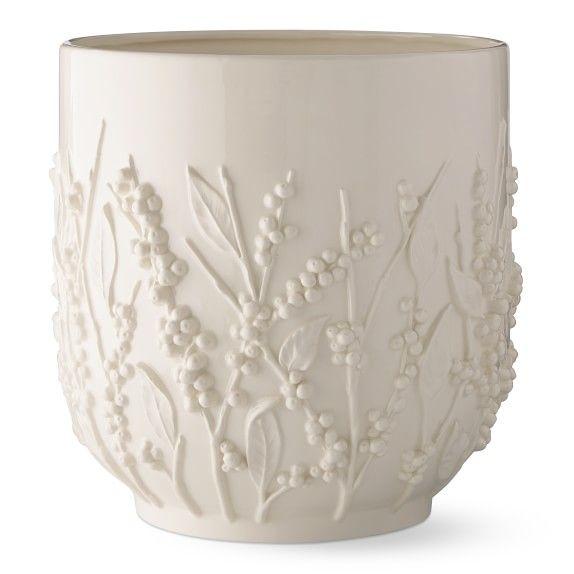 Aerin Winterberry Ceramic Cachepot White Ceramic Planter Winterberry Ceramics