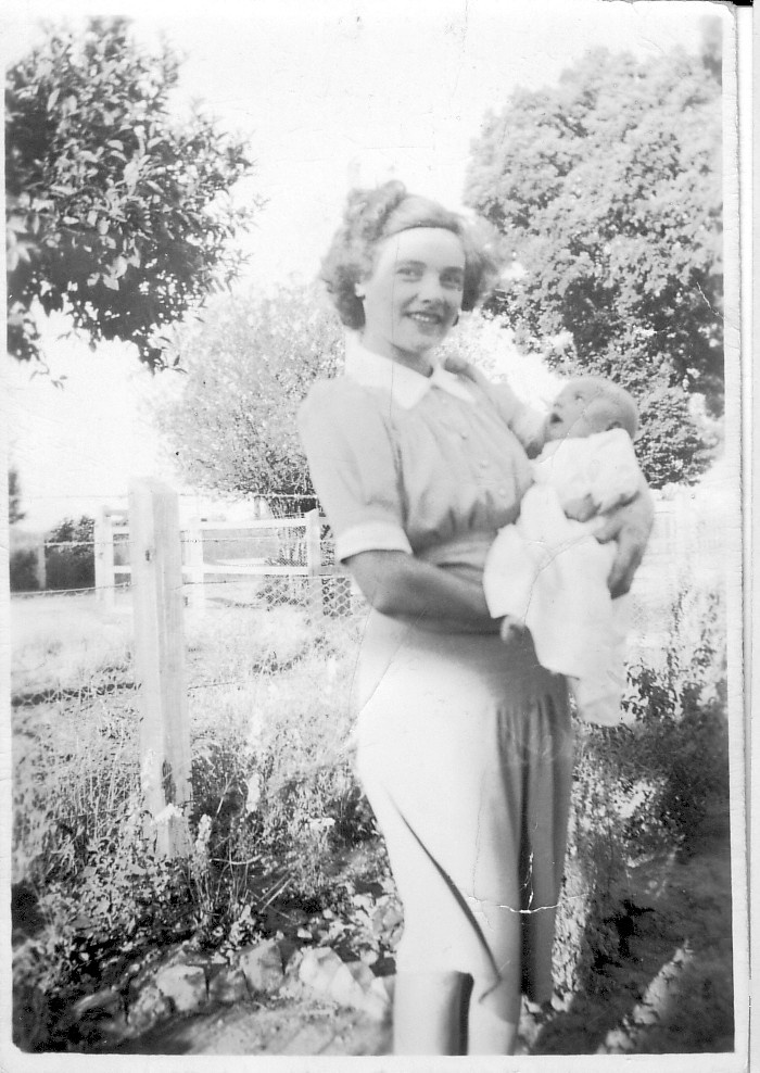 Patricia as a young mother in Milawa.