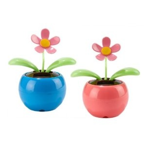 Two's Company Bee Happy Dancing Solar Flower Set of 2