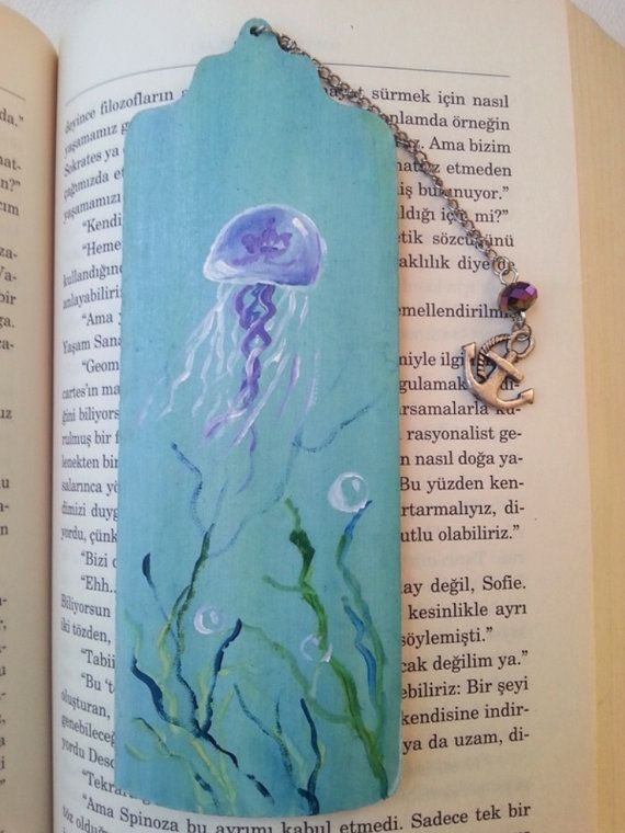 Jellyfish bookmark wooden bookmark book accessories by AxiKedi